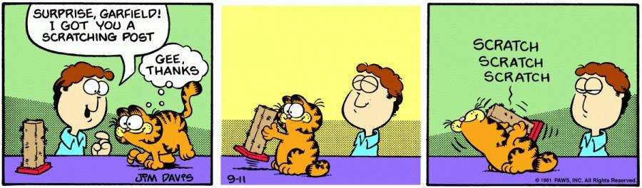 Оригинал комикса про Гарфилда от 11 сентября 1981 года