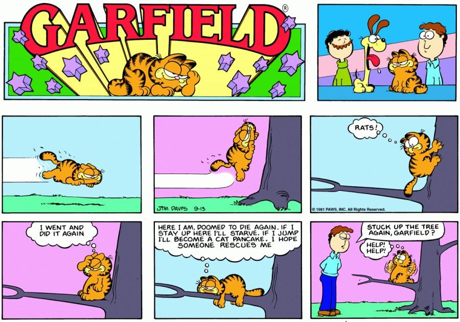 Оригинал комикса про Гарфилда от 13 сентября 1981 года