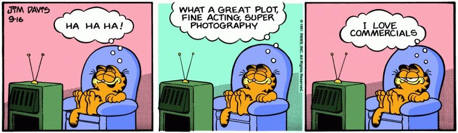 Оригинал комикса про Гарфилда от 16 сентября 1981 года