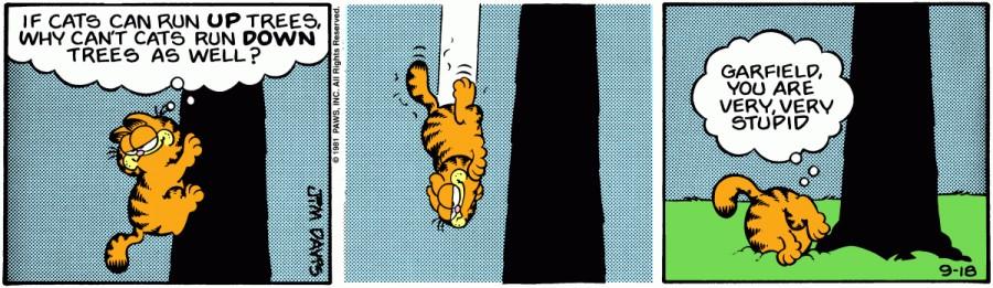 Оригинал комикса про Гарфилда от 18 сентября 1981 года