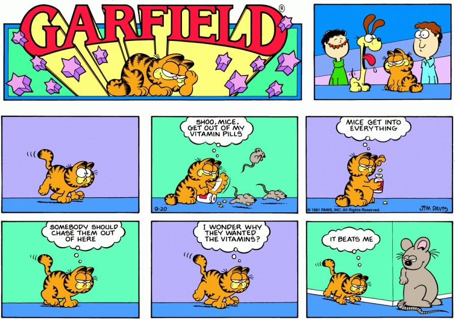 Оригинал комикса про Гарфилда от 20 сентября 1981 года