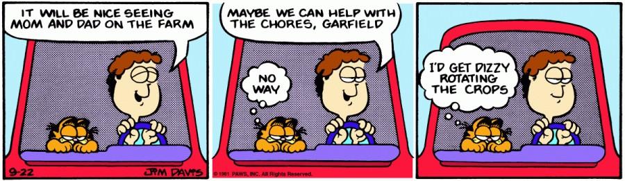 Оригинал комикса про Гарфилда от 22 сентября 1981 года