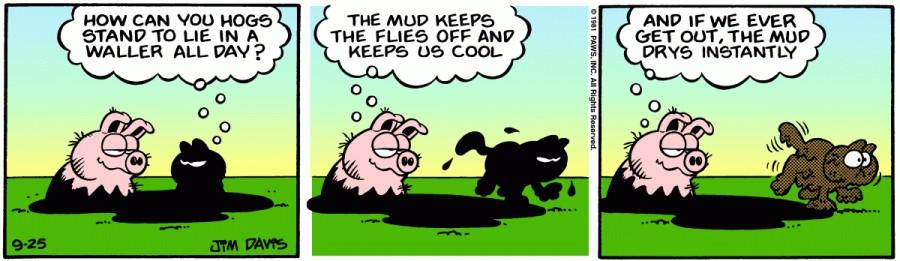 Оригинал комикса про Гарфилда от 25 сентября 1981 года