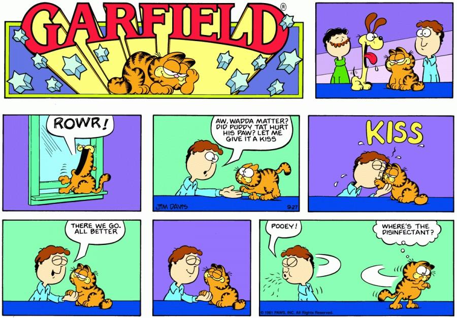 Оригинал комикса про Гарфилда от 27 сентября 1981 года