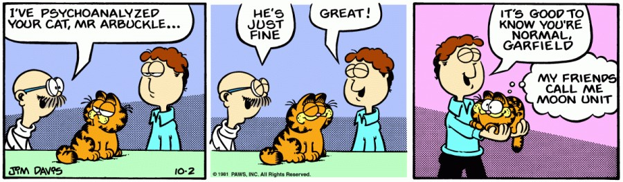Оригинал комикса про Гарфилда от 02 октября 1981 года