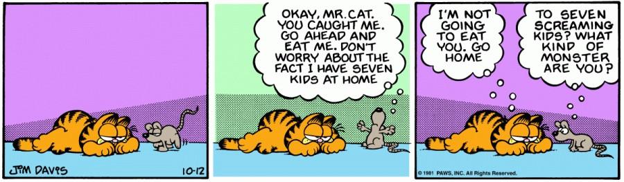 Оригинал комикса про Гарфилда от 12 октября 1981 года