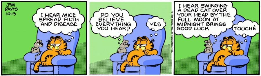 Оригинал комикса про Гарфилда от 13 октября 1981 года