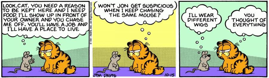 Оригинал комикса про Гарфилда от 15 октября 1981 года
