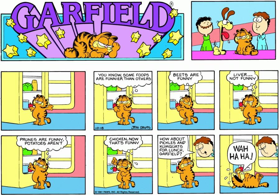 Оригинал комикса про Гарфилда от 18 октября 1981 года