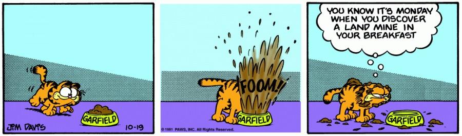 Оригинал комикса про Гарфилда от 19 октября 1981 года