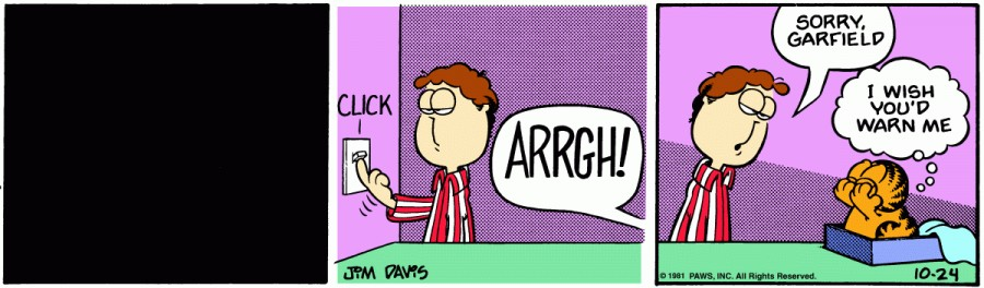 Оригинал комикса про Гарфилда от 24 октября 1981 года
