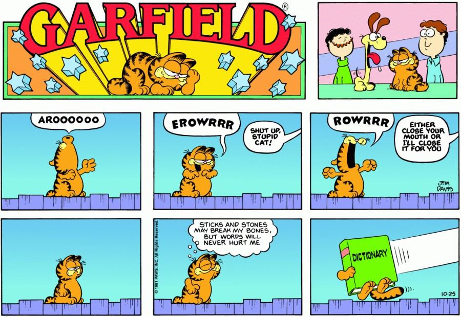 Оригинал комикса про Гарфилда от 25 октября 1981 года