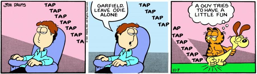 Оригинал комикса про Гарфилда от 07 ноября 1981 года