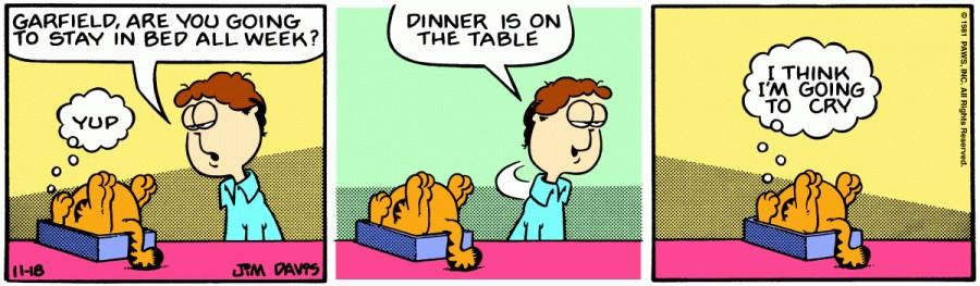 Оригинал комикса про Гарфилда от 18 ноября 1981 года