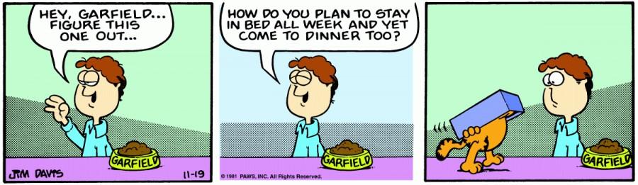 Оригинал комикса про Гарфилда от 19 ноября 1981 года