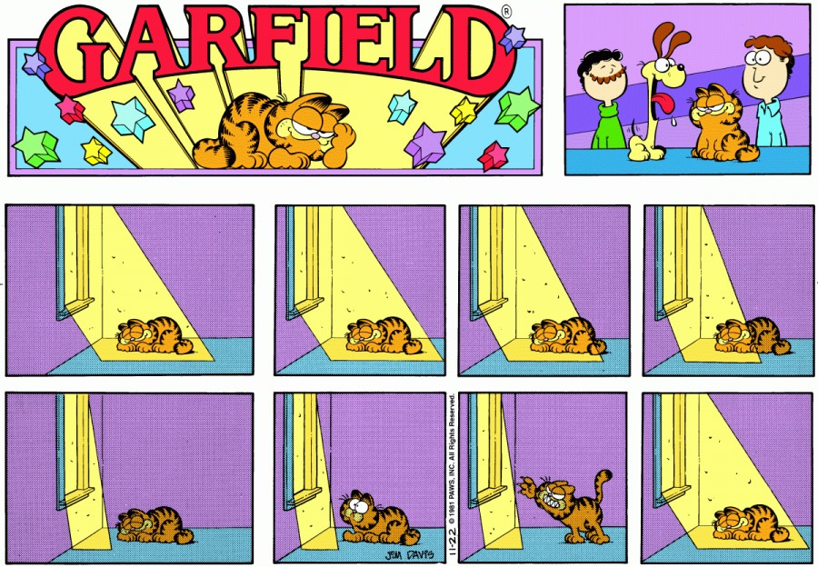 Оригинал комикса про Гарфилда от 22 ноября 1981 года