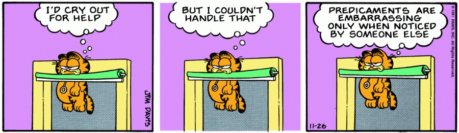 Оригинал комикса про Гарфилда от 26 ноября 1981 года