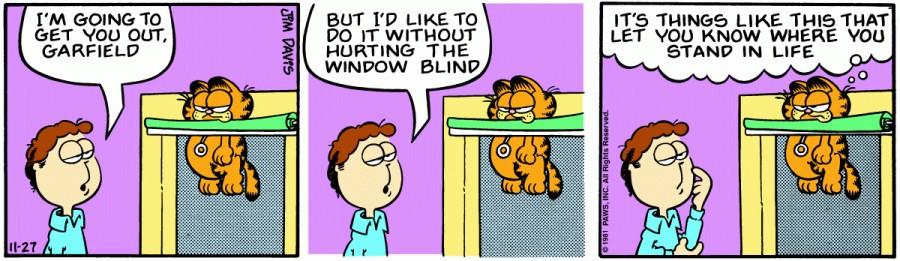 Оригинал комикса про Гарфилда от 27 ноября 1981 года