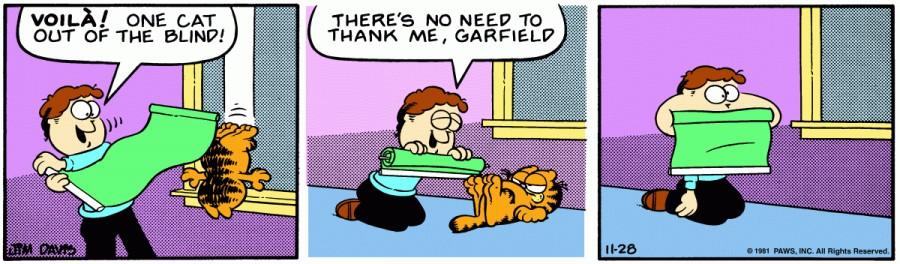 Оригинал комикса про Гарфилда от 28 ноября 1981 года