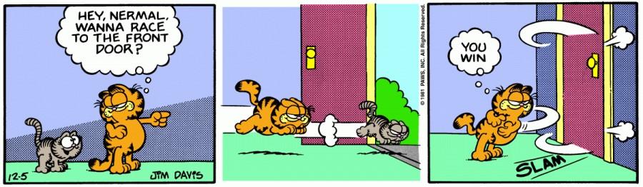Оригинал комикса про Гарфилда от 05 декабря 1981 года