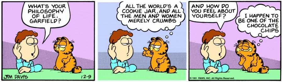 Оригинал комикса про Гарфилда от 09 декабря 1981 года