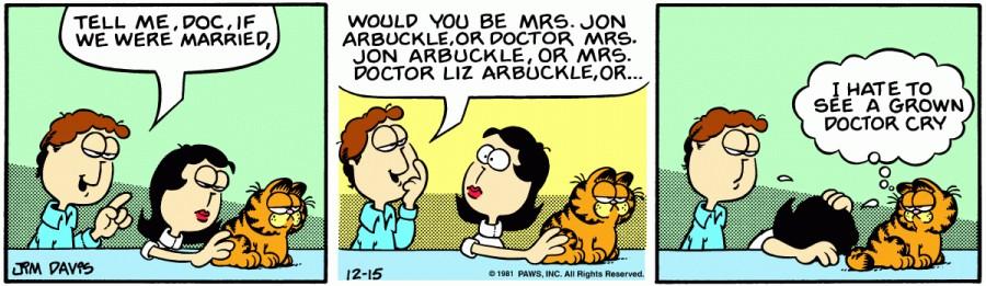 Оригинал комикса про Гарфилда от 15 декабря 1981 года