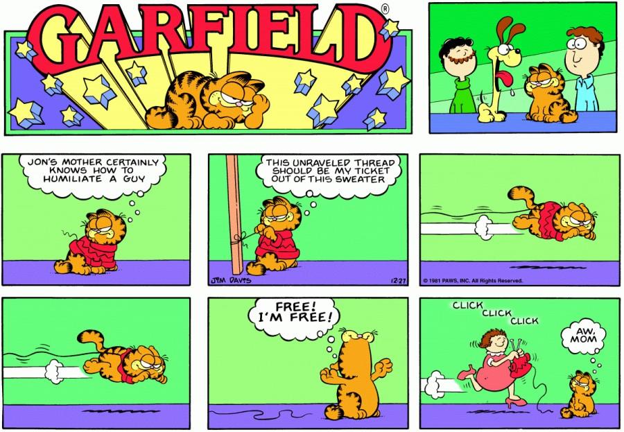 Оригинал комикса про Гарфилда от 27 декабря 1981 года