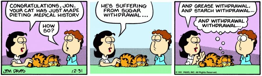Оригинал комикса про Гарфилда от 31 декабря 1981 года
