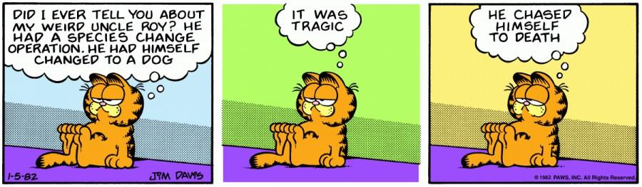 Оригинал комикса про Гарфилда от 05 января 1982 года