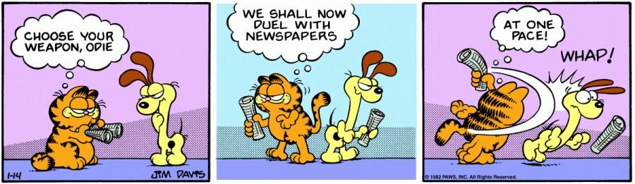 Оригинал комикса про Гарфилда от 14 января 1982 года
