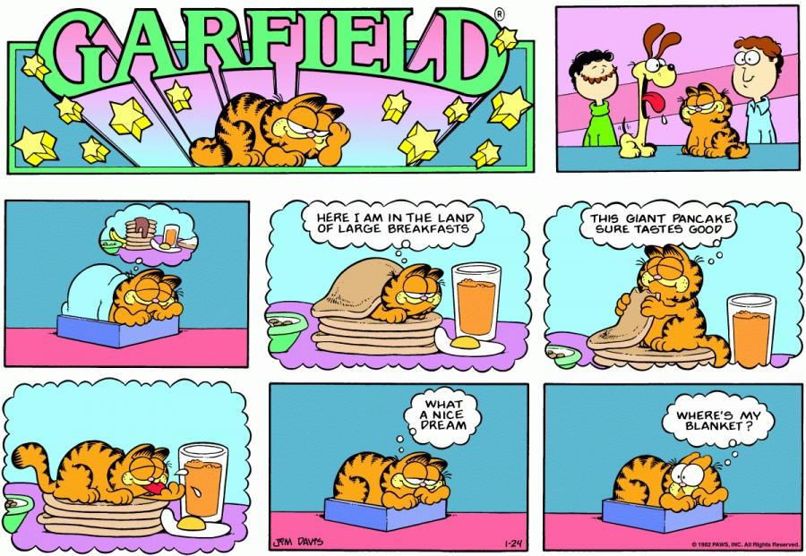 Оригинал комикса про Гарфилда от 24 января 1982 года