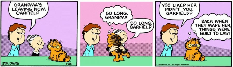 Оригинал комикса про Гарфилда от 30 января 1982 года