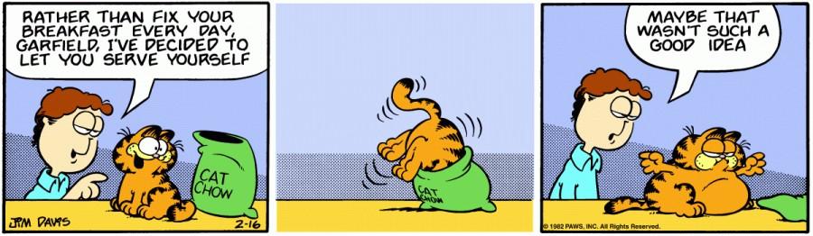 Оригинал комикса про Гарфилда от 16 февраля 1982 года