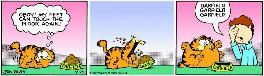 Оригинал комикса про Гарфилда от 20 февраля 1982 года