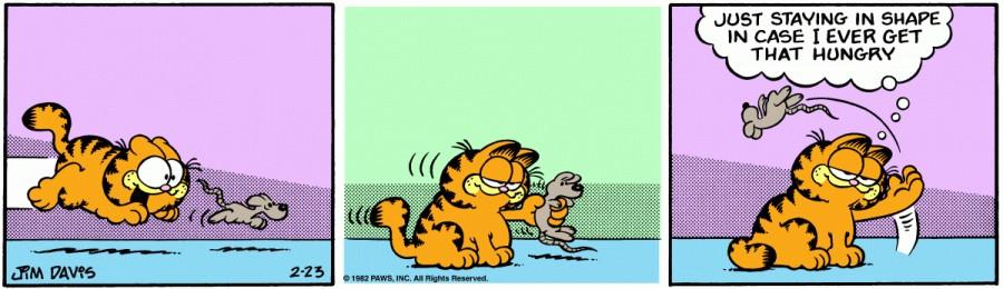 Оригинал комикса про Гарфилда от 23 февраля 1982 года