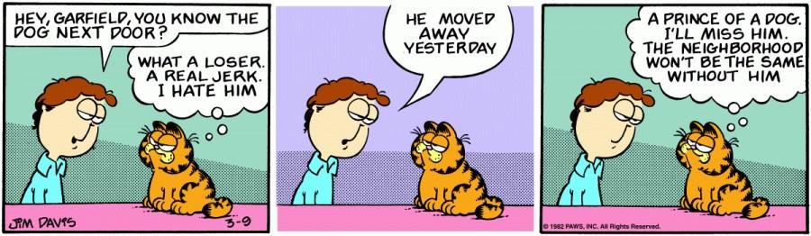 Оригинал комикса про Гарфилда от 09 марта 1982 года