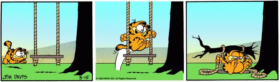 Оригинал комикса про Гарфилда от 15 марта 1982 года