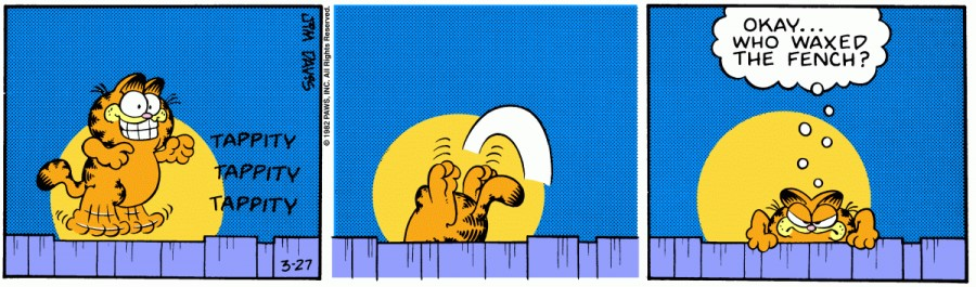 Оригинал комикса про Гарфилда от 27 марта 1982 года