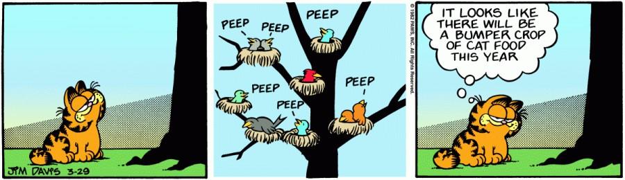 Оригинал комикса про Гарфилда от 29 марта 1982 года