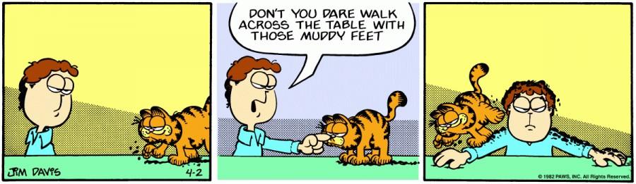 Оригинал комикса про Гарфилда от 02 апреля 1982 года