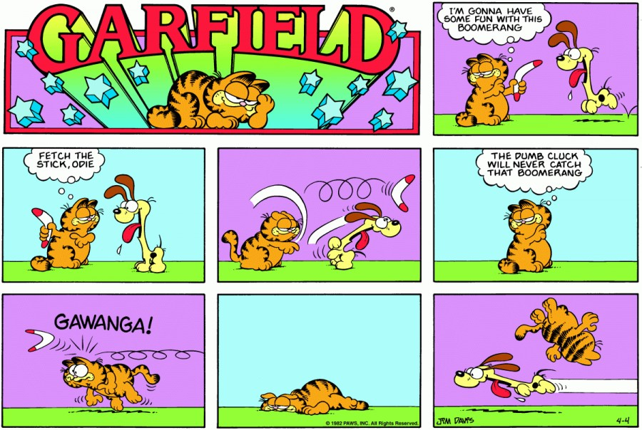 Оригинал комикса про Гарфилда от 04 апреля 1982 года