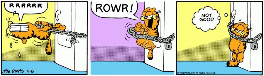 Оригинал комикса про Гарфилда от 06 апреля 1982 года