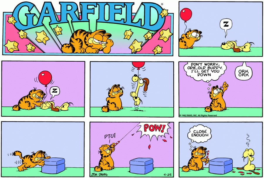 Оригинал комикса про Гарфилда от 25 апреля 1982 года
