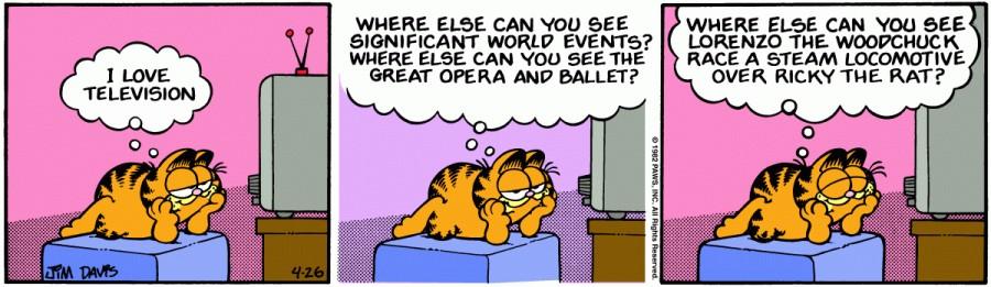 Оригинал комикса про Гарфилда от 26 апреля 1982 года