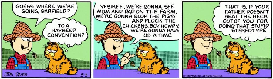 Оригинал комикса про Гарфилда от 03 мая 1982 года