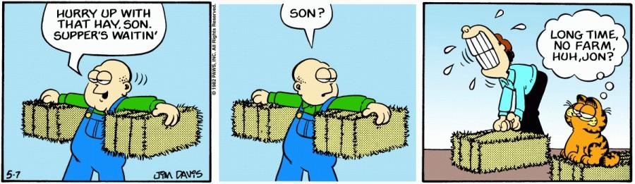 Оригинал комикса про Гарфилда от 07 мая 1982 года
