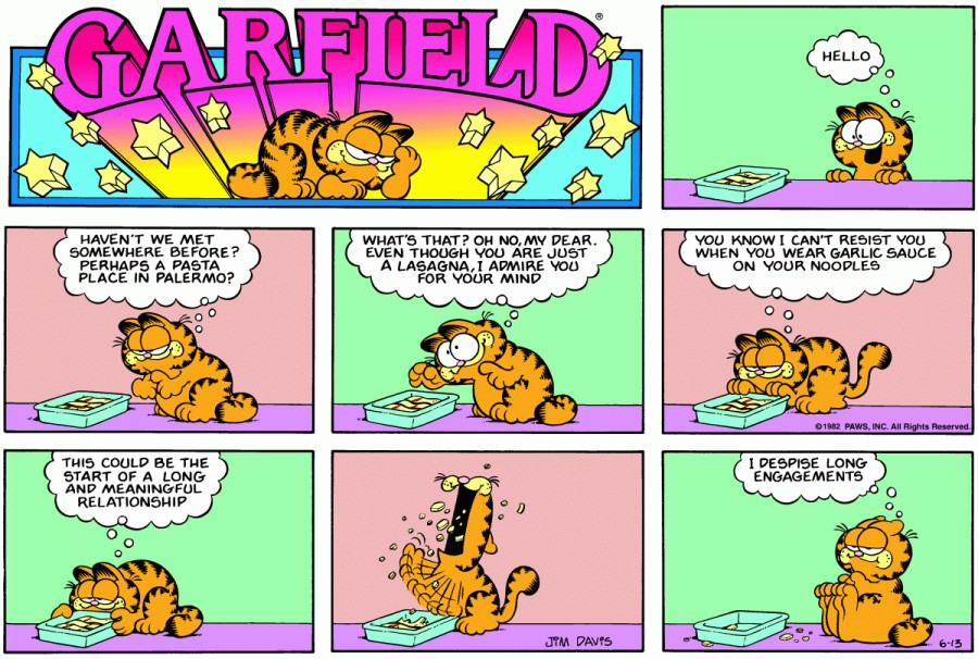 Оригинал комикса про Гарфилда от 13 июня 1982 года