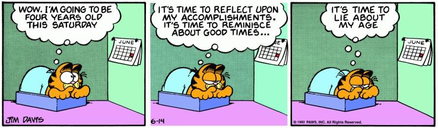 Оригинал комикса про Гарфилда от 14 июня 1982 года