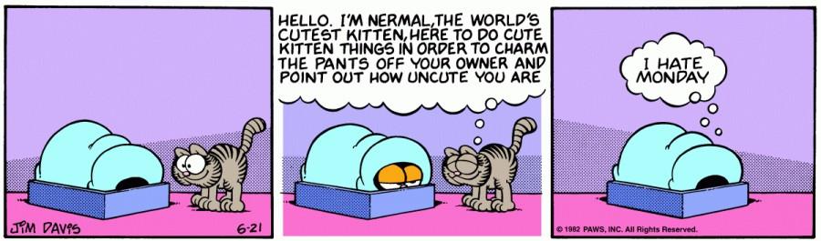 Оригинал комикса про Гарфилда от 21 июня 1982 года