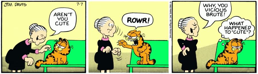 Оригинал комикса про Гарфилда от 07 июля 1982 года
